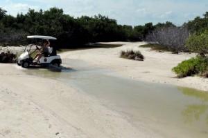 creek crossing in a golf cart