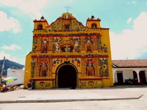 yellow church in San Andres Xecul