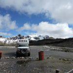Tigger in front of Huarapasca Glacier